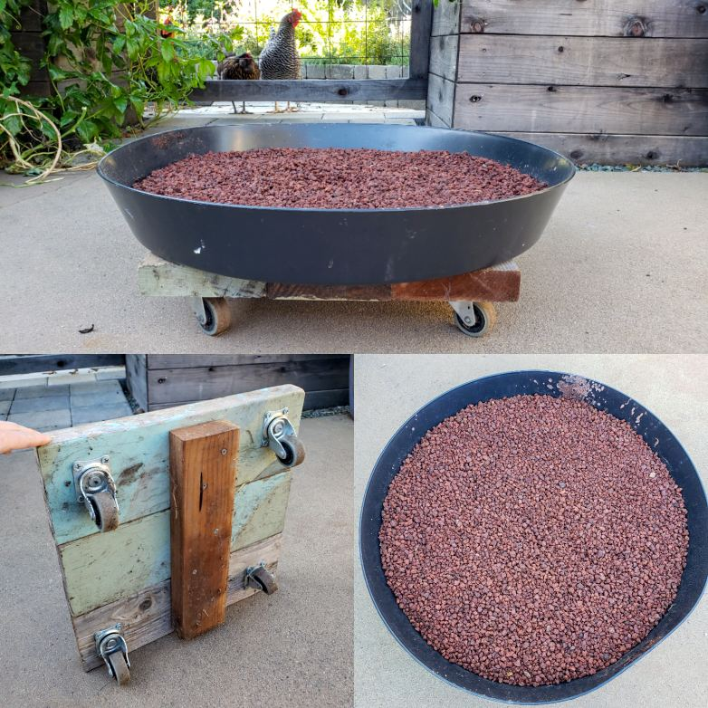 Three images in one. One shows a homemade wood dolly - a square set of boards with two inch casters  or wheels attached to the bottom. Then it shows a large black plant saucer that sits on top of it, from several angles. The grow bag sits on top of all of it.