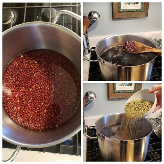 The image on the left shows the adzukis soaking in water in a large stainless steel pot (step 1). The top right shows the same pot now very full of water, the adzuki beans cooking (step 2). A wooden spoon shows the half-cooked adzuki beans. The third photo shows a hand holding a bowl of green lentils, pouring them into the pot (step 3).