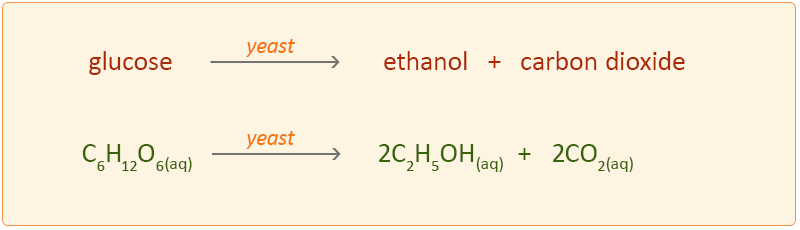 The chemical reaction of glucose plus yeast to ethanol and carbon dioxide.