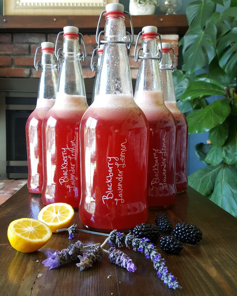 """An image of several bottles of kombucha. They're red in color and have """"Blackberry Lavender Lemon"""" written on the bottle. Actual blackberries, lavender buds, and lemon wedges lay on the table in front of the bottles"""