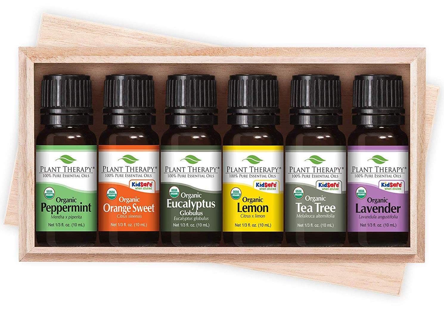 A stock photo of a wooden box that contains six jars of essential oils. From left to right the essential oils are peppermint, orange sweet, eucalyptus, lemon, tea tree, and lavender.