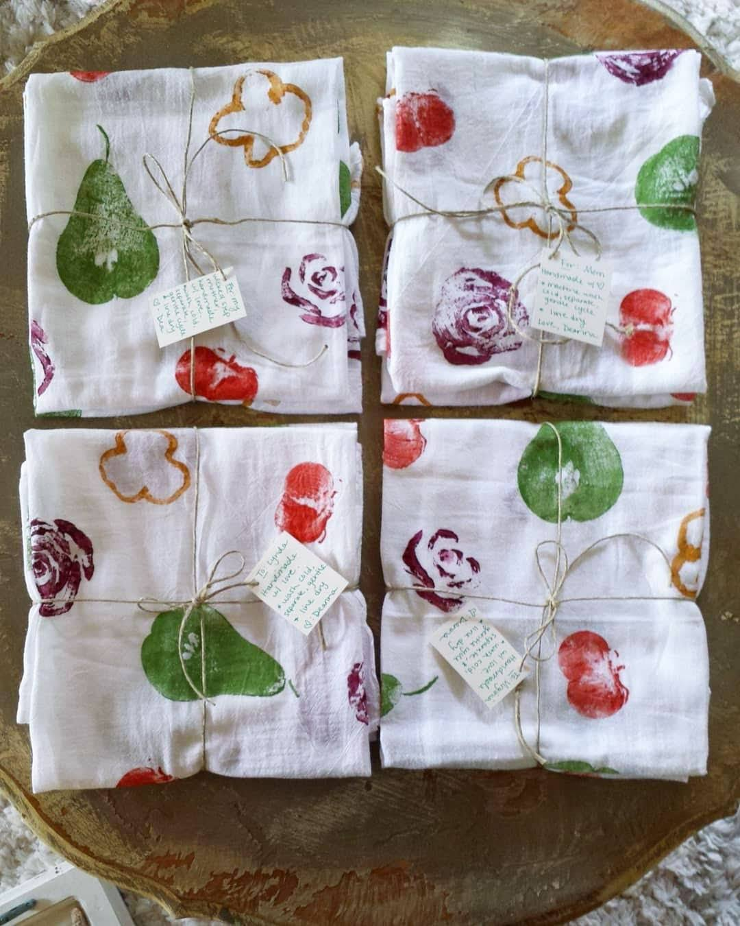 Craft Project Diy Fruit Veggie Stamped Flour Sack Tea Towels Tutorial Homestead And Chill